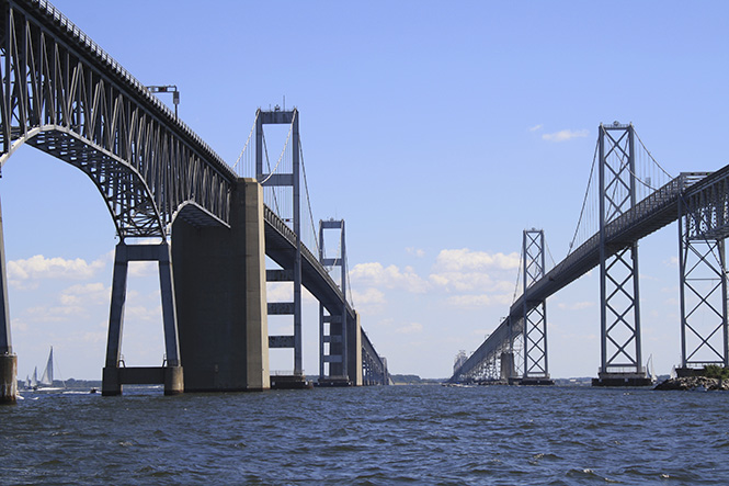 A view of the Chesapeake Bay Bridge from between the spans.