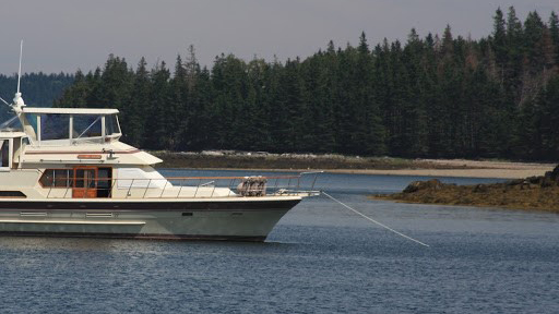 A 1985 52' Vista Motor Yacht in the Barred Islands in Penobscot Bay Maine