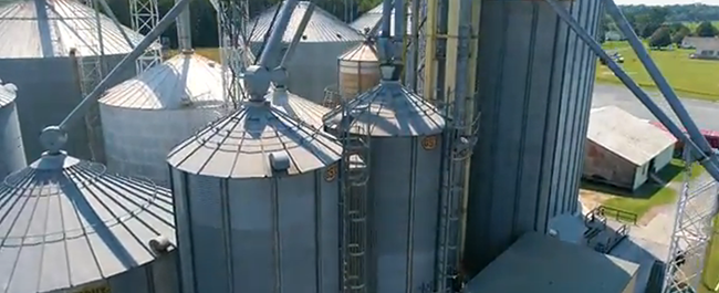 An aerial view of Associates Grain's grainery in Accomack VA
