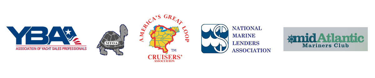 Logos of the organizations that Jack Martin & Associates is members of, including: Yacht Broker Association of America, MTOA, America's Great Loop Cruisers Association, National Marine Lenders Association, and the Mid-Atlantic Mariners Club