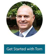 "A photo of Tom Saxon with text below that says, ""Get Started with Tom"""