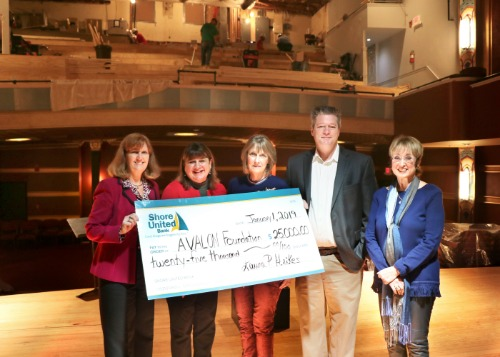 A group photo of Shore United Bank employees:  Robin O'Brien and Laura Heikes along with 3 representatives from the Avalon theatre with a check donation from Shore United Bank.