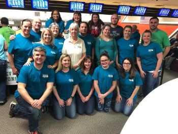 Shore United Bank and Wye Financial Partners employees on bowling teams for Junior Achievement