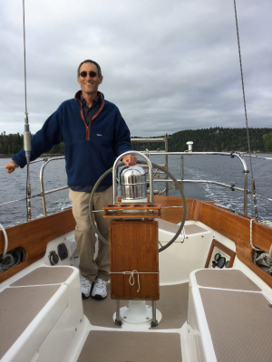 Ted McElhinny on his 38' Shannon