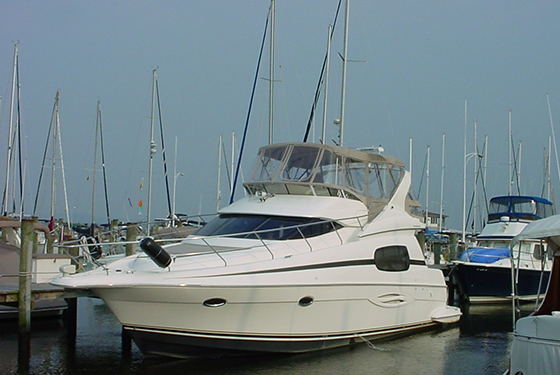 A 2004 41' Silverton Sport Bridge docked at the Selby Bay Yacht Club, Edgewater, MD