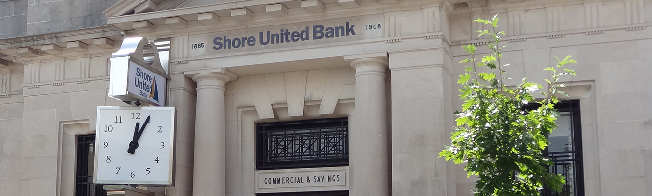 Shore United Bank's main office on Dover Street in Easton, Maryland