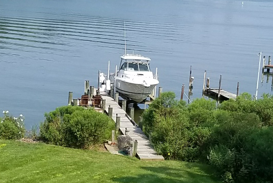 A Pursuit IS 285 docked on the South River, Edgewater, MD