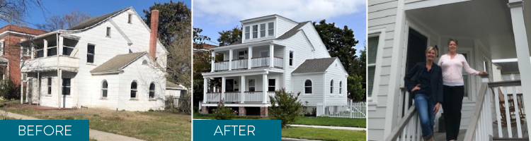 before and after photos of home renovation financed by Shore United Bank