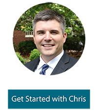 "A photo of Chris Parks with text below that says, ""Get started with Chris"""