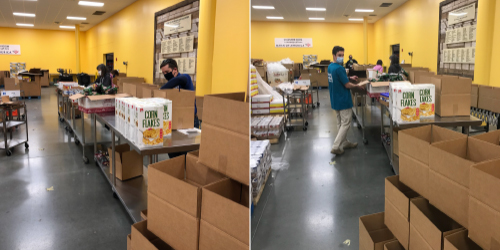 Brian Kenney and John Augustus packing boxes for food shelter